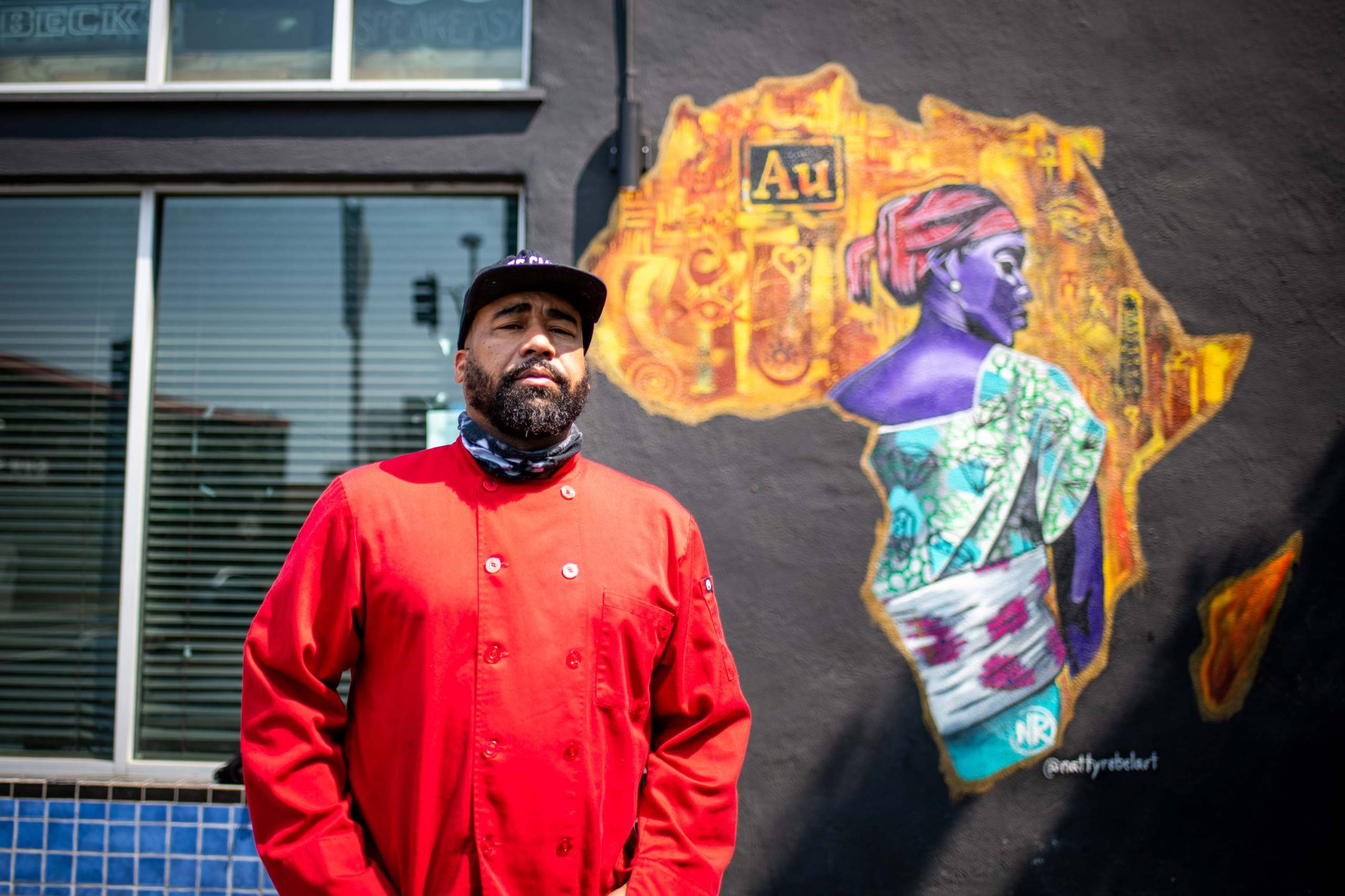 A portrait of chef Edward Wooley outside of Oakland's Au Lounge, where he holds his pop-up, Chef Smelly's Creole and Soul Food