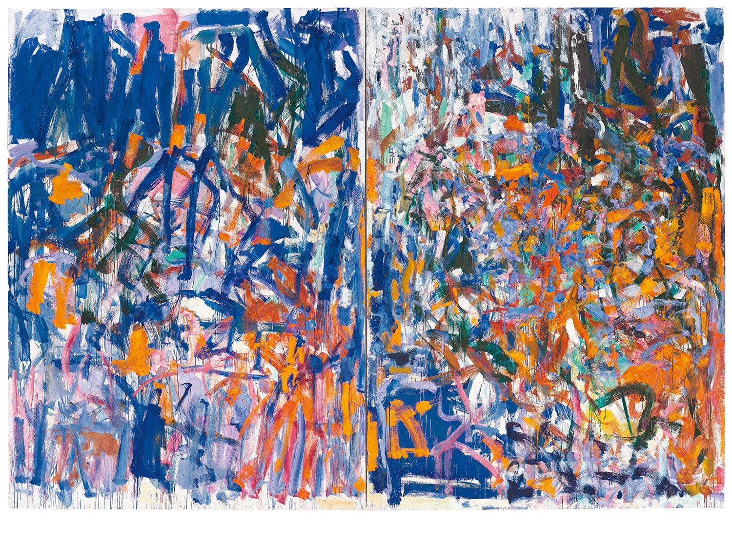 An abstract diptych painting dominated by blue, orange and pink brushstrokes.