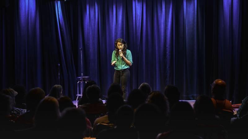 Priyanka Wali performing a set at 2017 Desi Comedy Fest.