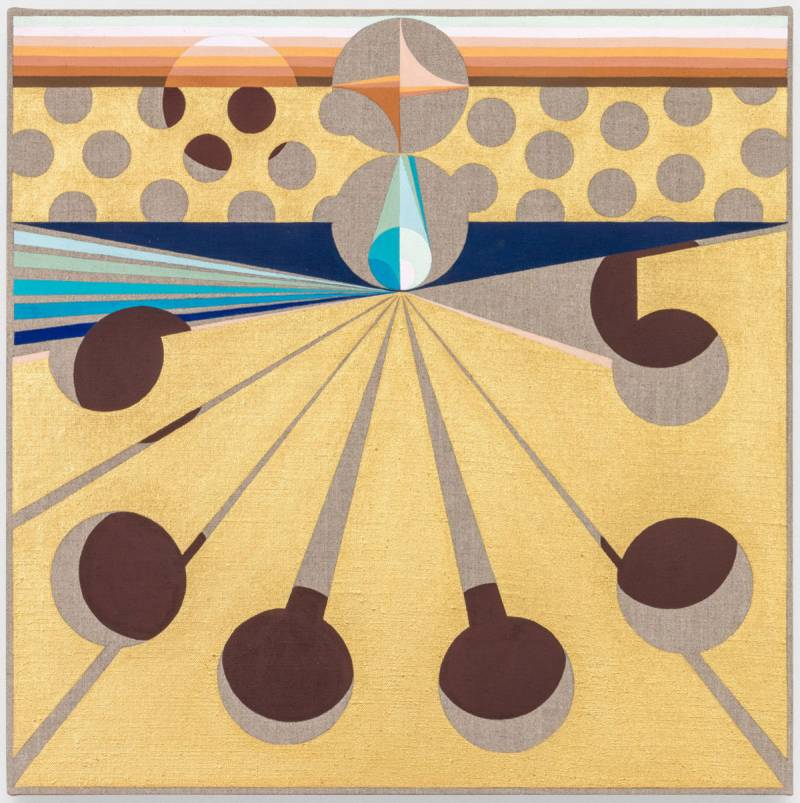 A square painting of circles, stripes and rays in predominantly gold and brown.