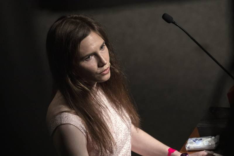 Amanda Knox delivers a speech during a panel session entitled 'Trial by Media' during the first edition of the Criminal Justice Festival, an event organised by The Italy Innocence Project and the local association of barristers. Modena, Italy, 2019.