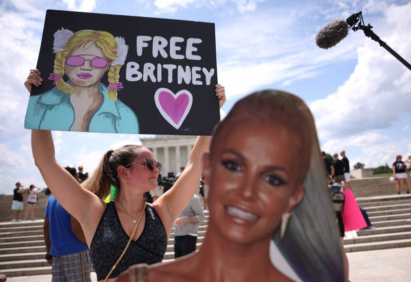 Supporters of Britney Spears participate in a #FreeBritney rally at the Lincoln memorial on July 14, 2021 in Washington, DC. The group has long called for an end to the 13-year conservatorship lead by the pop star's father, James Spears.