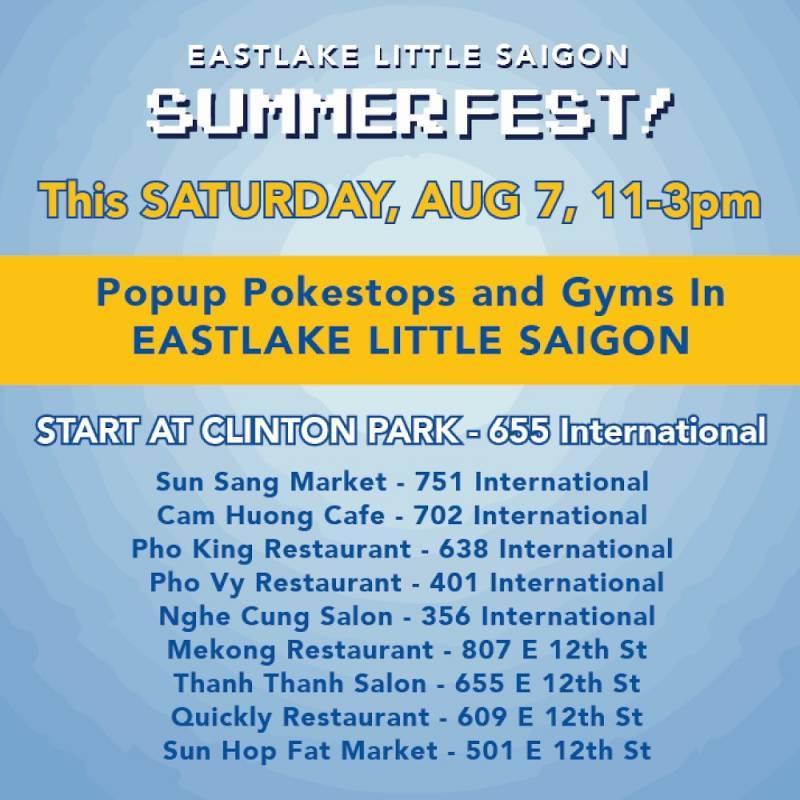 A list of participating locations for Eastlake Little Saigon Summerfest
