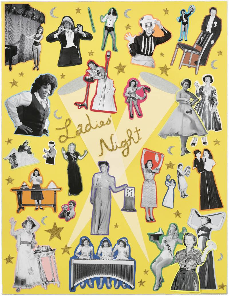 Collage of photographs of women performers on a yellow background.