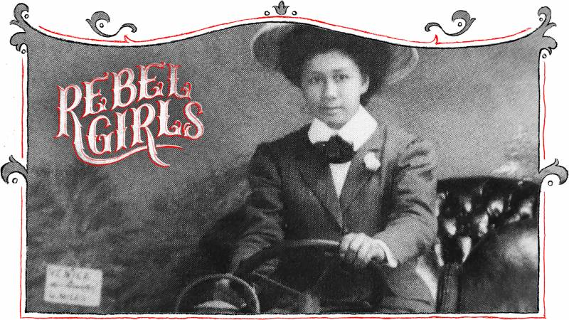 Margaret Chung in 1909, posing in an automobile. Her love of sports cars would later become common knowledge around San Francisco.