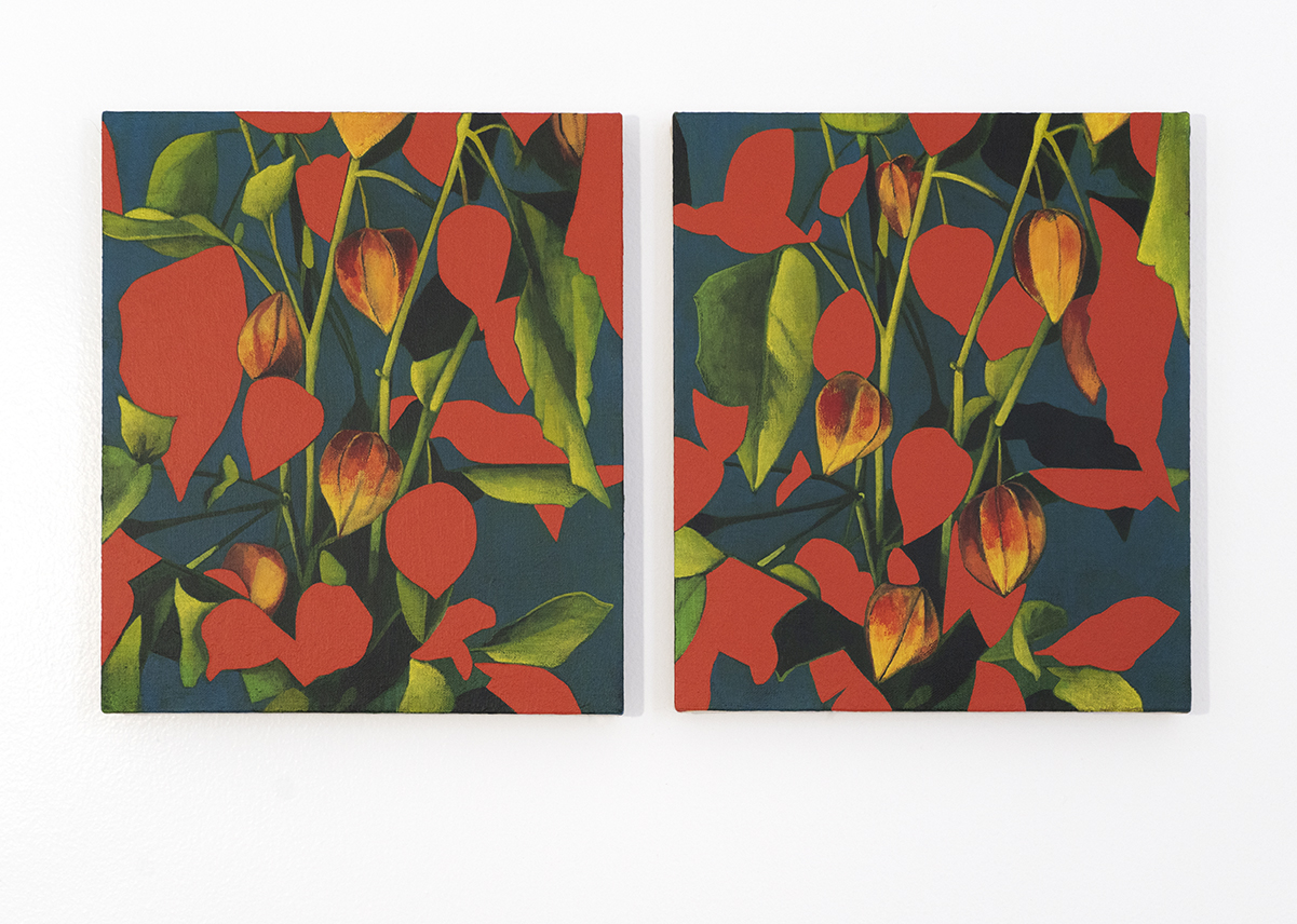 Two vertical paintings of red and green leaves.