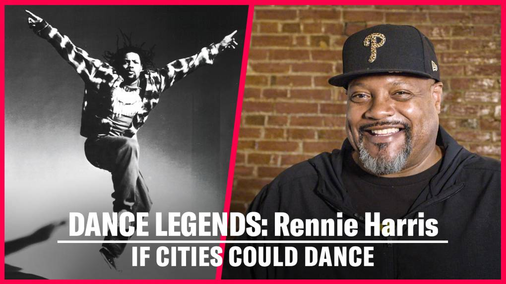 A split screen image of choreographer Rennie Harris: a black and white photo of Rennie dancing in the 1990s on the left and a still from a sit down interview with Rennie taken in 2021 on the right.