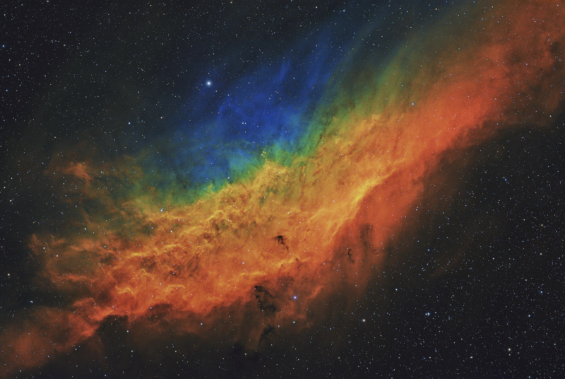 The California Nebula, as captured by Michigan-based astrophotographer Terry Hancock, in his photo, 'California Dreamin' NGC 1499'. The image has been shortlisted for the Astonomy Photographer of the Year Award.