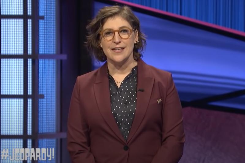 Mayim Bialik guest-hosting 'Jeopardy!' last season.