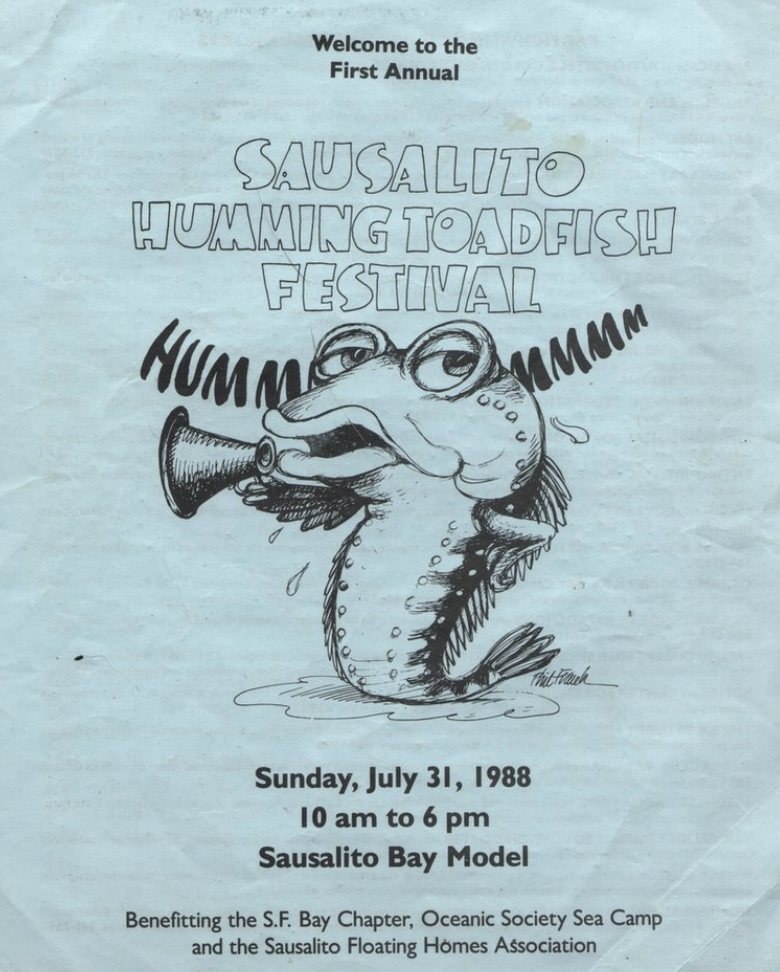 Local cartoonist Phil Frank designed this promo poster for Sausalito's Annual Humming Toadfish Festival, in 1988.