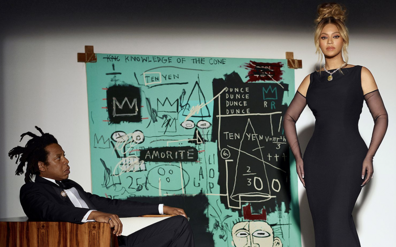 Jay-Z and Beyoncé have been brought together with a 1982 Basquiat painting for the new Tiffany & Co. ad campaign.