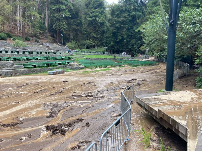 Thick mud covers the ground up to green benches in the park.