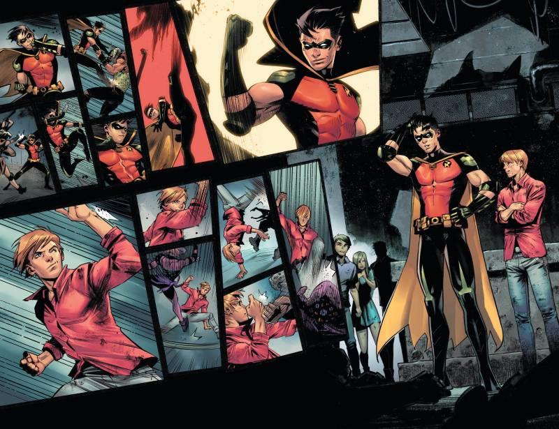 In 'Batman: Urban Legends #6,' Robin (Tim Drake) comes to a realization. Writer: Meghan Fitzmartin. Art: Belén Ortega. Color: Alejandro Sánchez.