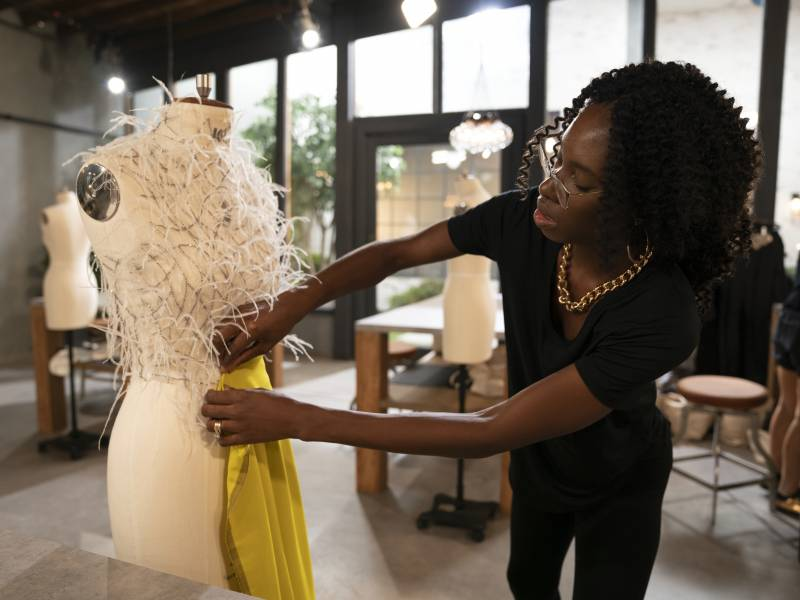 Designer Andrea Pitter competing on season two of 'Making the Cut.'