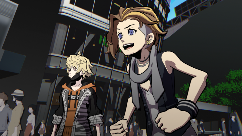 Buddies Rindo and Fret fight for their lives on the streets of a strange alternate Tokyo in 'NEO: The World Ends With You.'