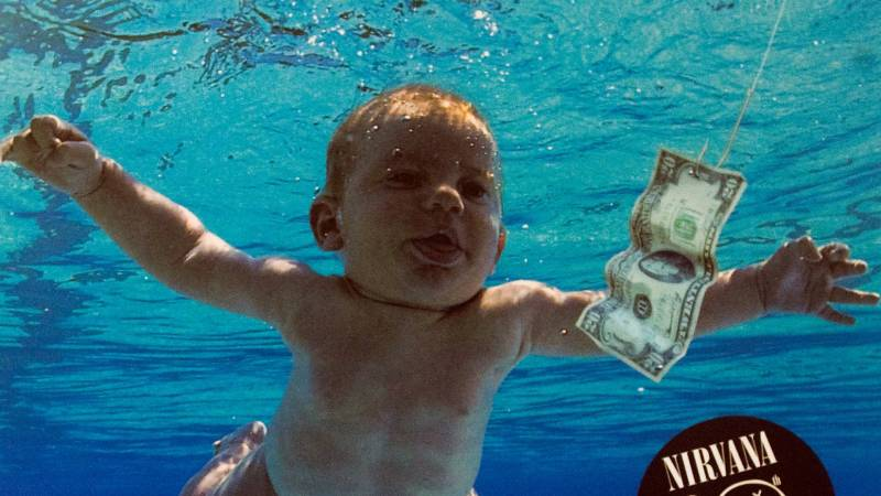 The iconic cover of Nirvana's 1991 album, 'Nevermind.'