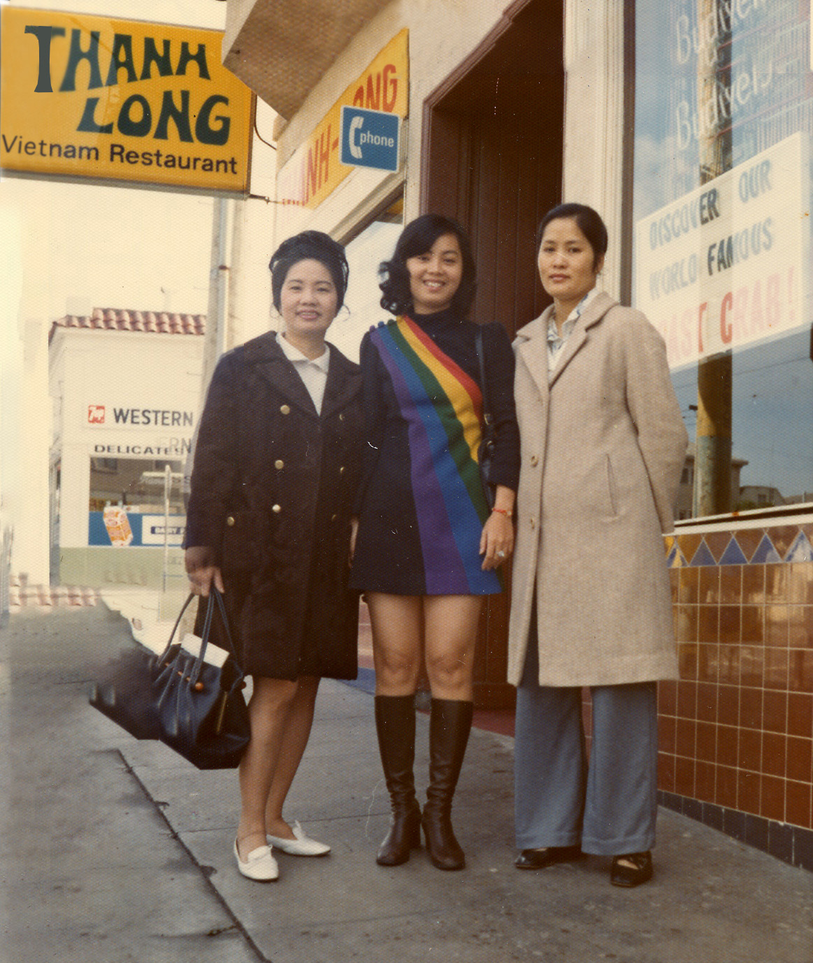 Diana An (left) poses with her cousins outside her restaurant Thanh Long, circa 1975.