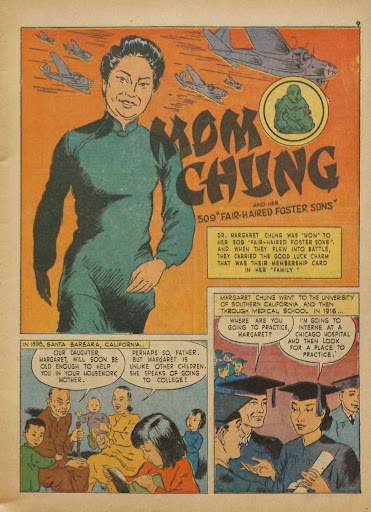 """A 1943 comic book, 'Real Heroes', featured a story about """"Mom Chung and her 509 Fair-Haired Foster Sons."""""""