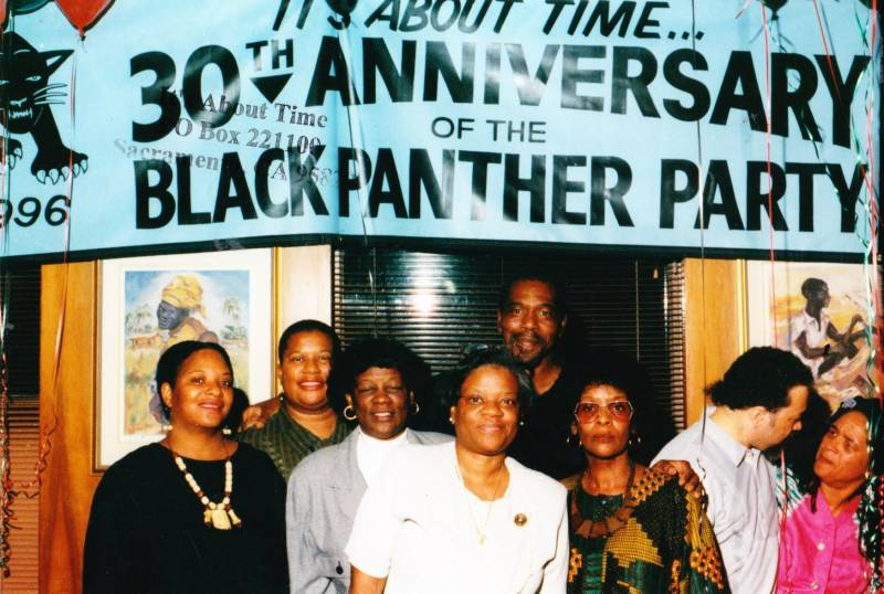 People gathered for the 30th anniversary of the founding of the Black Panther Party.