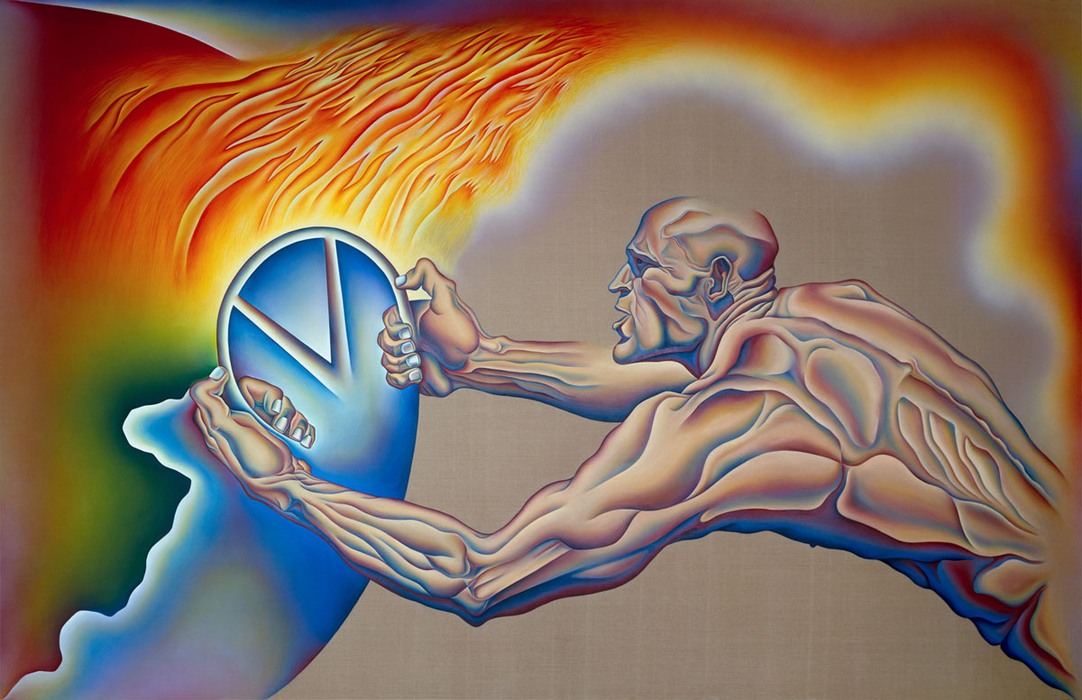 Painting of nude man with steering wheel and earth on fire.