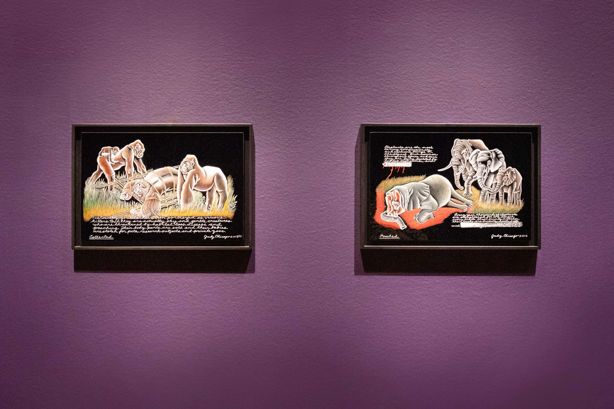 Framed paintings of gorillas and elephants against a dark purple wall.