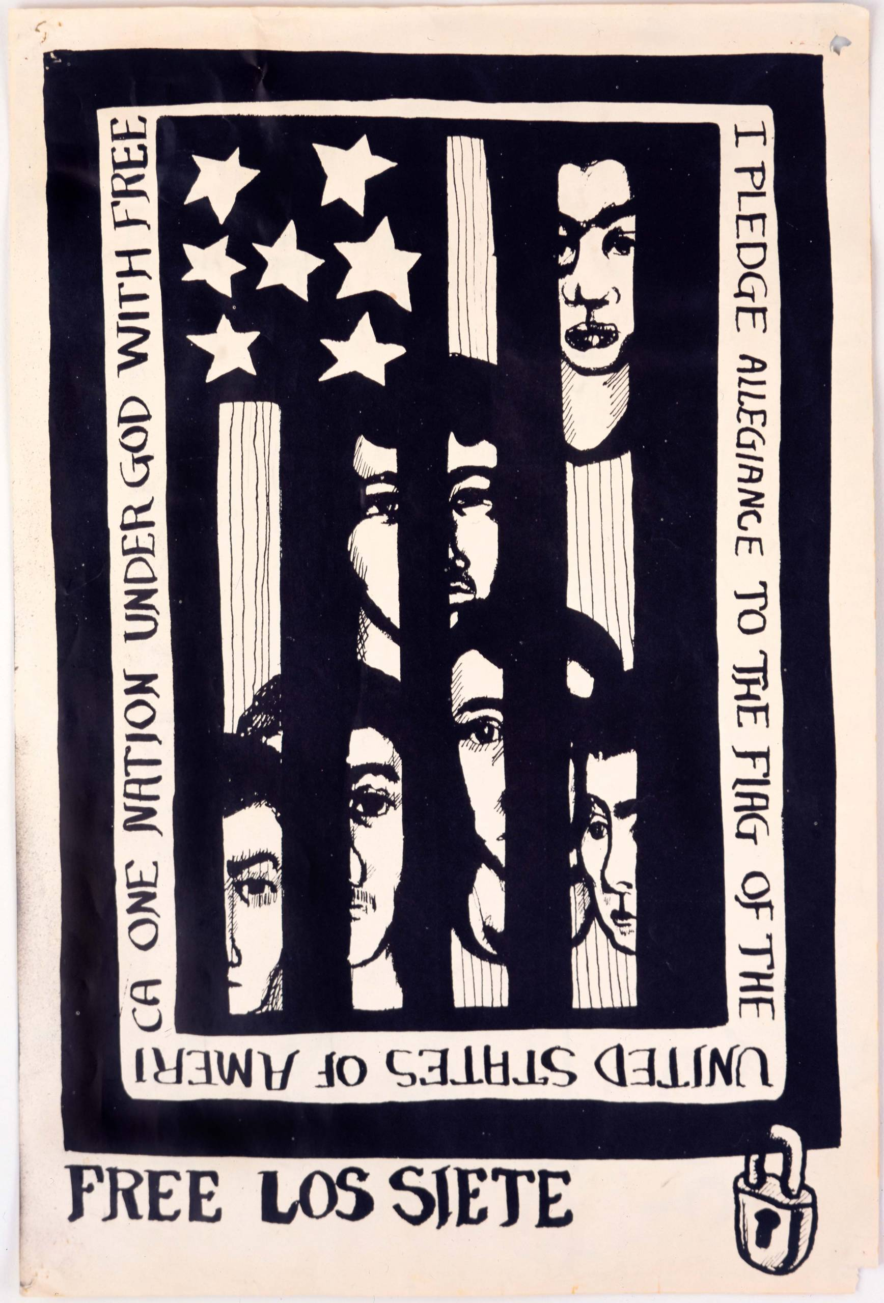A black-and-white print with faces seen through stripes of American flag.