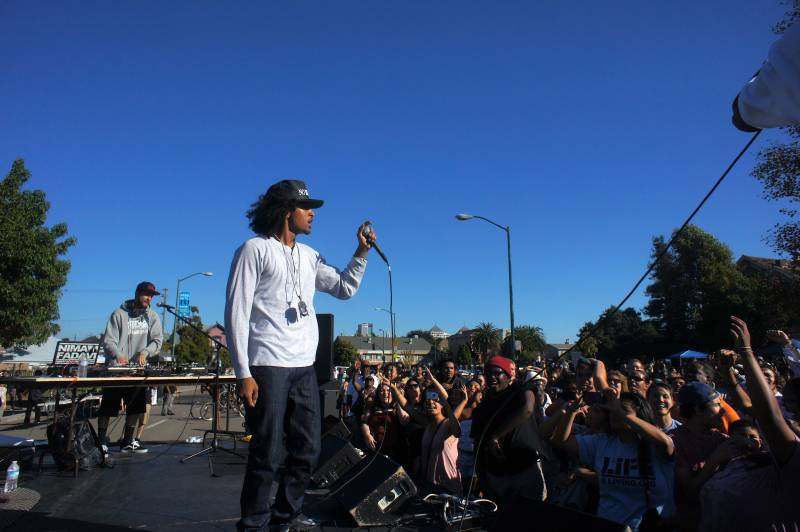 Raka Rich performing at the Life is Living festival in West Oakland (circa 2013).