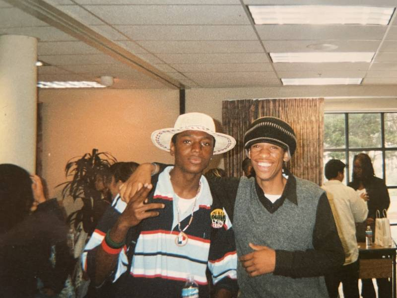 Raka Dun and Do D.A.T. pose for a photo during a performance at SF State (circa 2005).