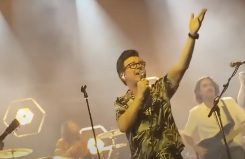 Rick Astley performs on stage in London with the band, Blossoms.