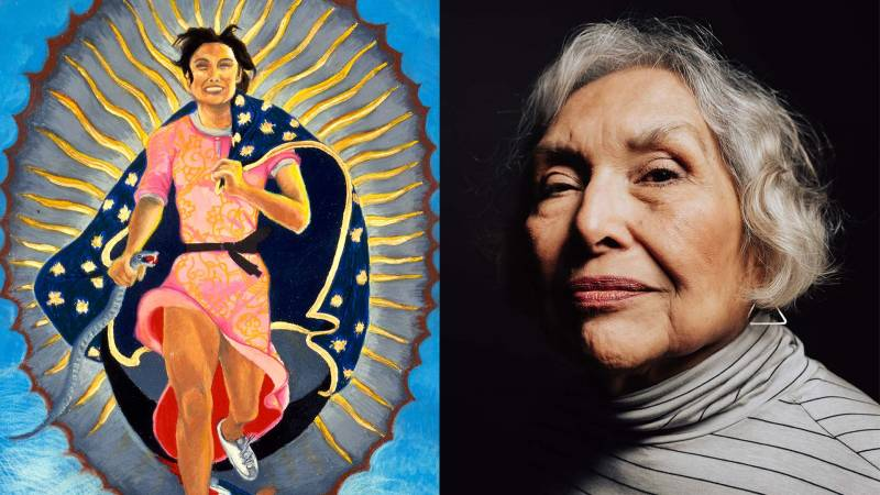 Painting of a woman dressed as the Virgin of Guadalupe running towards the viewer. On the right, a portrait of Yolanda López.