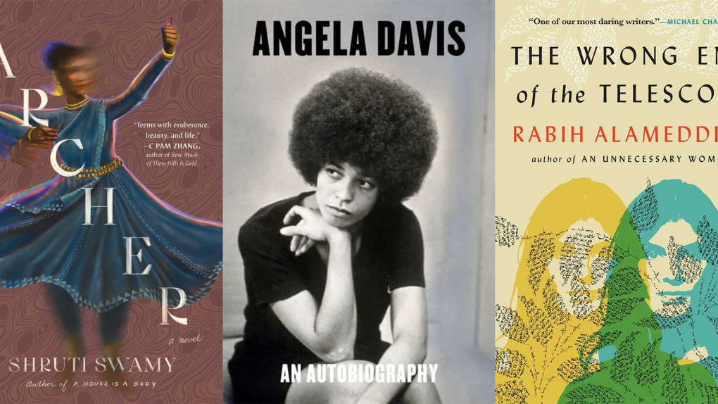 """A collage of covers for Shruti Swamy's """"The Archer,"""" the third edition of Angela Davis' Autobiography, and Rabih Alameddine's """"The Wrong End of the Telescope."""""""