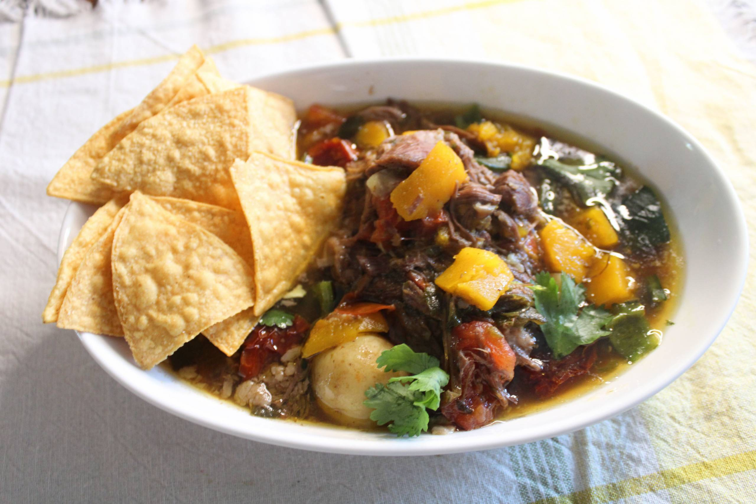 A bowl of meat stew topped with tortilla chips.