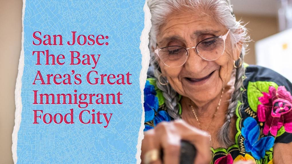 """Close up of an older Latina womans face as she grinds chiles in a molcajete; the text on the left reads, """"San Jose: The Bay Area's Great Immigrant Food City."""""""