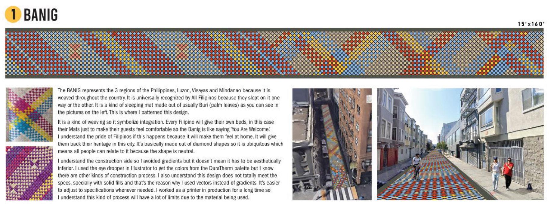 Image of woven pattern on street.