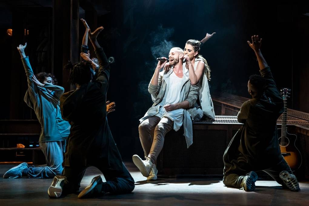 Aaron LaVigne, Jenna Rubaii and the company of the North American Tour of 'Jesus Christ Superstar,' running at the Golden Gate Theatre in San Francisco.