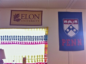 University flags ring the school's cafeteria and Learning Lab to reinforce its college-bound culture.