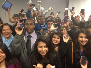 Los Angeles students at the DML Conference in San Francisco show the devices they want to use in school.