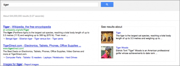 Search for [tiger] yields choices