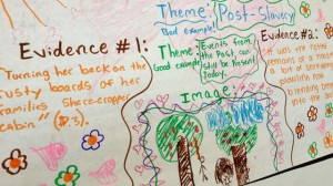 "A student project depicting themes in Alice Walker's novel ""The Flowers"" hangs on a classrom wall. (Katrina Schwartz/KQED)"