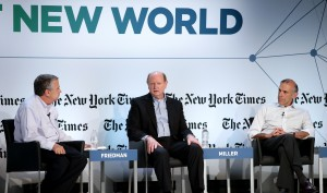 Thomas Friedman, Richard Miller and Tony Wagner discuss education at the Next New World Conference in San Francisco. (Neilson Barnard/Getty Images)