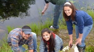 Sanborn Sophomores Work with field consultants from the University of New Hampshire at Pow Wow Pond in Kingston, NH. (Brian Stack)