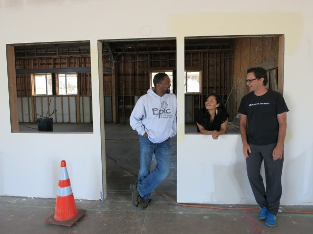 Epic's founding staff at the soon-to-be-completed site, from left: Michael Hatcher, principal; Reina Cabezas, teacher; Francis Abbatantuono, math coach.