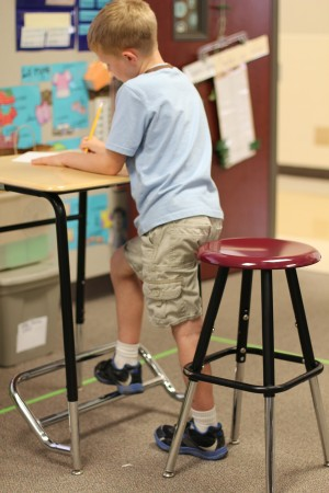 A Stand2Learn standing desk and stool. (Courtesy of Stand2Learn)