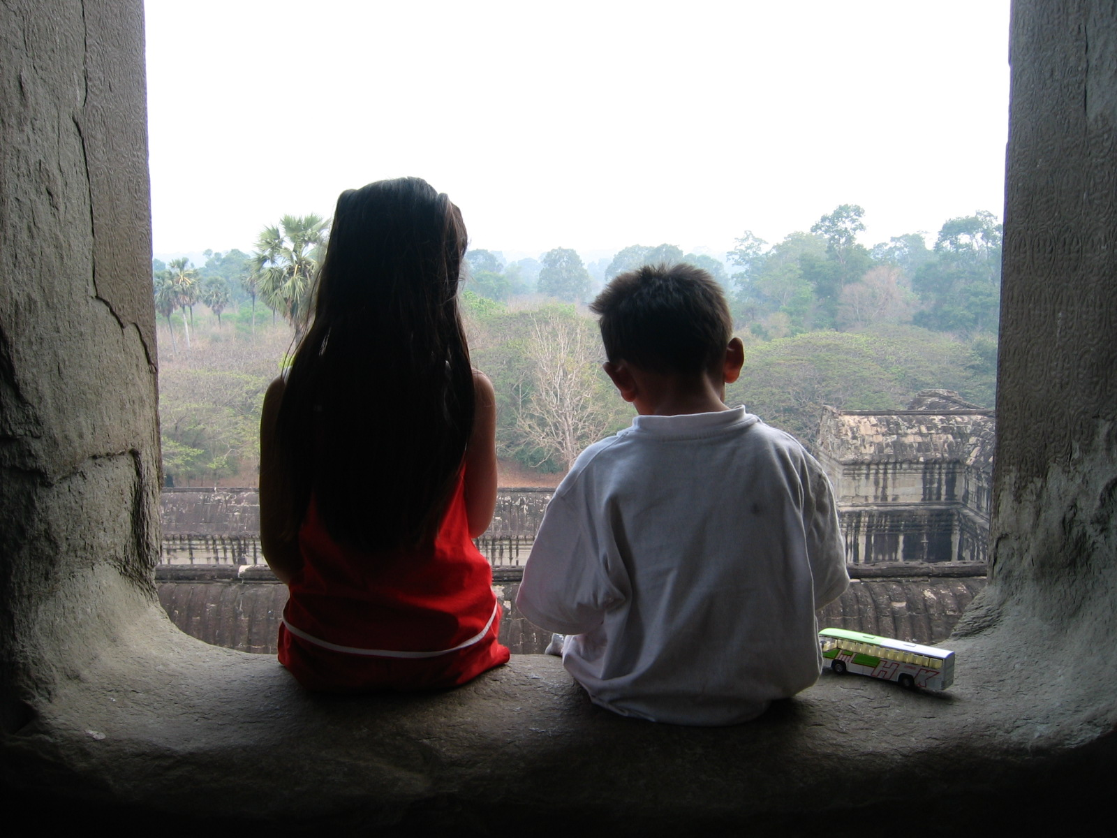 Ming Horn with her brother on a visit to Angkor Wat when she was in the first grade. (Courtesy of Ming Horn)
