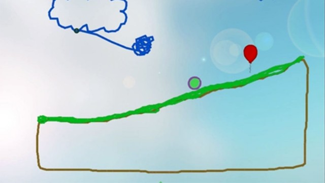 Screenshot from Physics Playground, a game where middle school students draw agents of motion that will cause the green ball to hit the red balloon. (Physics Playground)