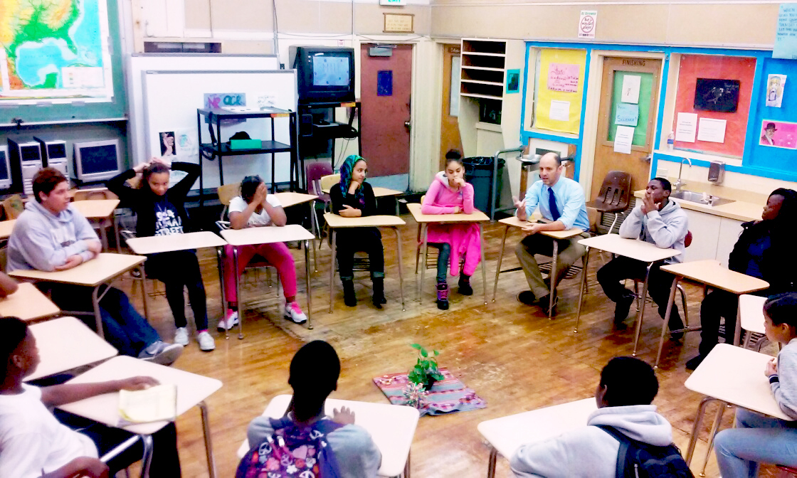 A restorative justice circle at Edna Brewer Middle School in Oakland, Calif. (Sam Pasarow/Edna Brewer Middle School)