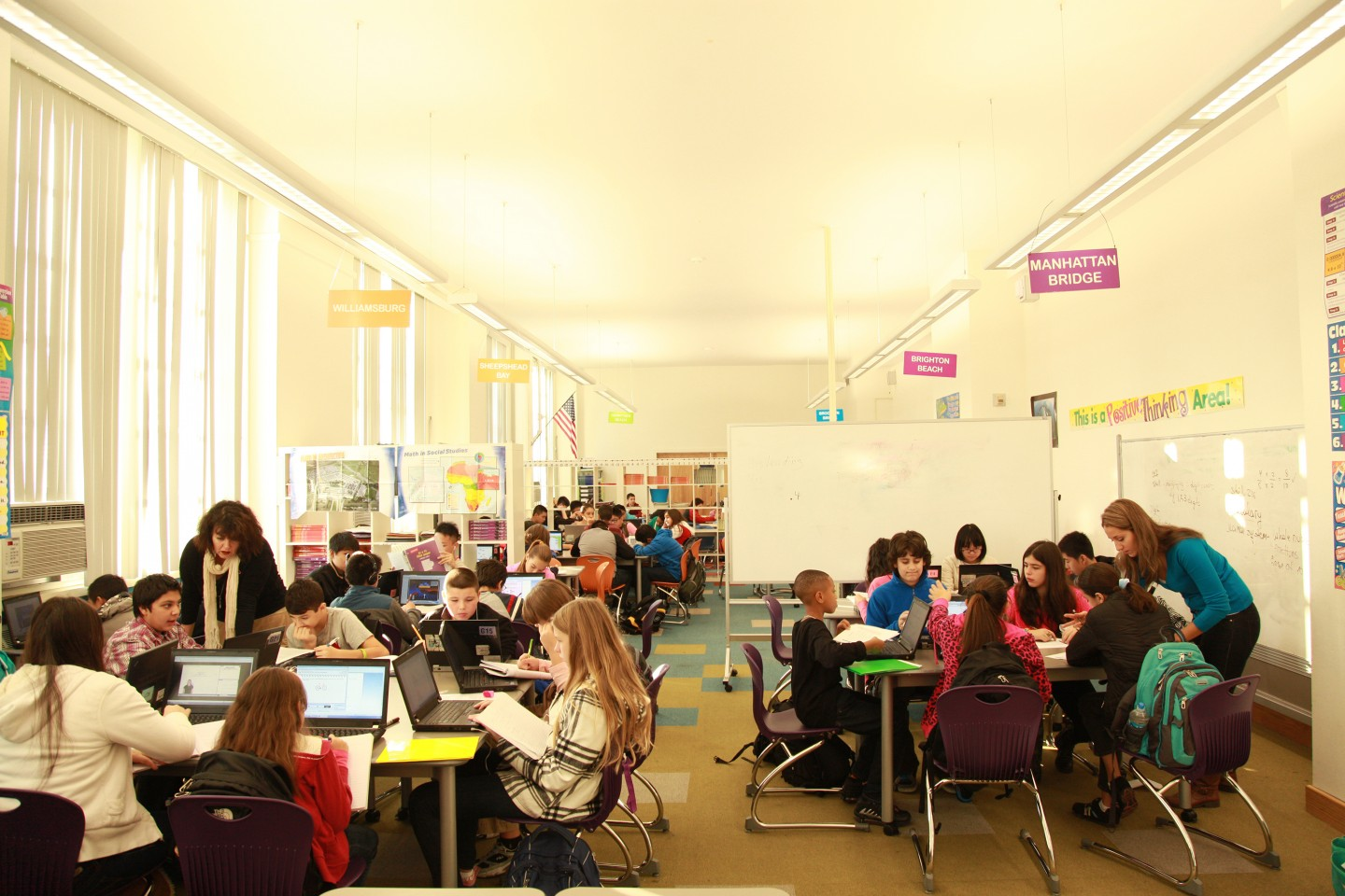 A blended learning classroom at David Boody Jr. High School in New York City. (Courtesy of New Classrooms)