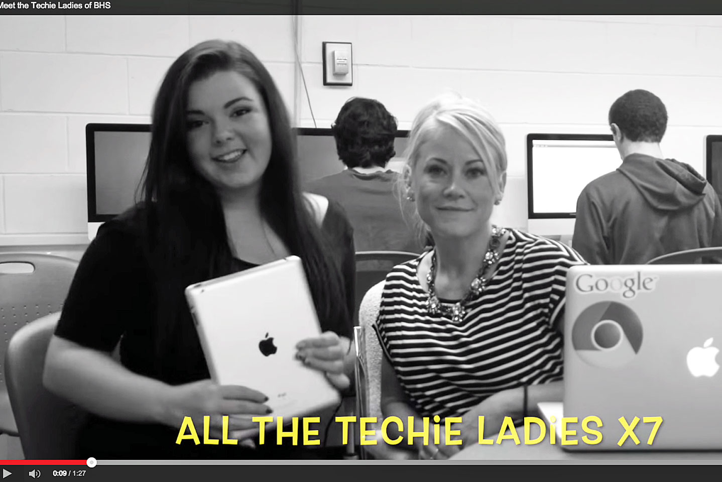 "A screen grab from Burlington High School's Help Desk video, ""All the Techie Ladies,"" produced by the female members of the team."