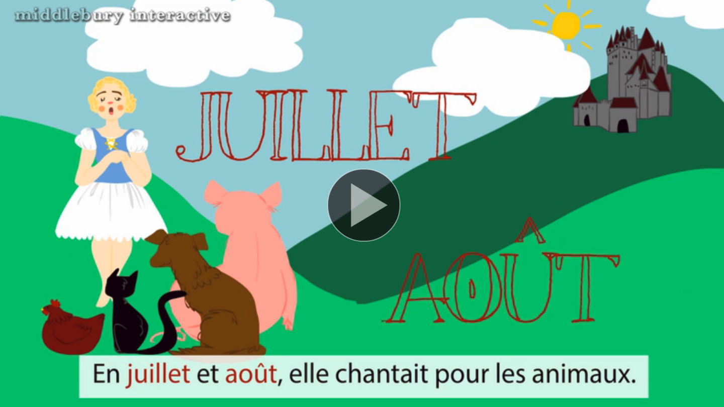 The elementary school curriculum consists of animated fairy tales from target language countries.