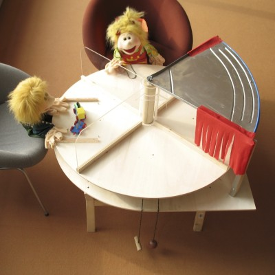 """In some of the experiments, a puppet would """"steal"""" a cookie from another puppet or the child by moving the turntable to place the treat in front of herself."""